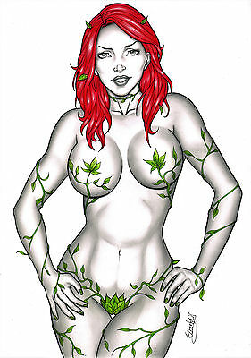POISON IVY BY artist ELBERTY-  ART PINUP Drawing Original COMIC