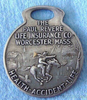Vintage Policyholder Key Fob: PAUL REVERE LIFE INSURANCE CO; Great Image