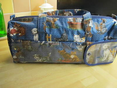 Knitting Bag Featuring Puppy & Kitten Design