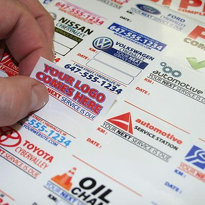 250 Fully Customized Oil Change Reminder Sticker Static Cling or Low Tack Vinyl