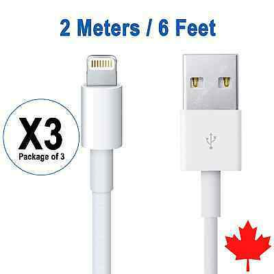 3x 6FT 2M 8 Pin USB Data Sync Charger Cable for iPhone 7 7Plus 6 6S 5S SE iPad