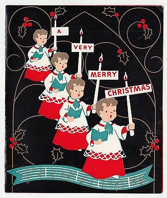 Vintage Greeting Card Christmas Altar Choir Boys Mid-Century Black Background