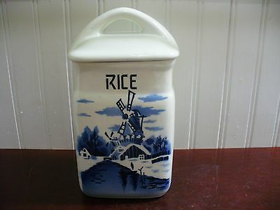 Vintage Czechoslovakia Porcelain Dutch Windmill Motif Covered Rice Canister