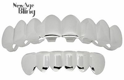 Grillz 8 Teeth Top 6 Bottom Silver Tone Grills w/Molds Hip Hop Caps Mouth