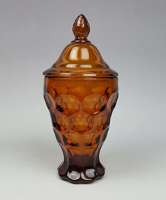 Imperial Glass Provincial pattern footed candy dish with lid amber golden-brown