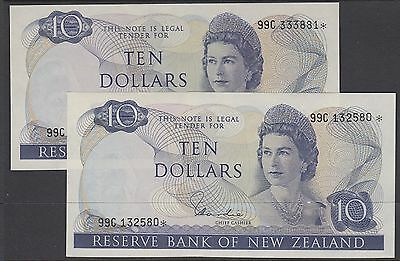New Zealand: $10 Replacement Star Note P166d Hardie Consec Pair Uncirculated