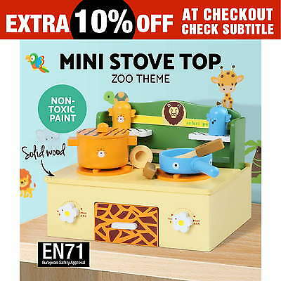 Kids Wooden Kitchen Pretend Play Set Stove Toy Children Cooking Home Cookware
