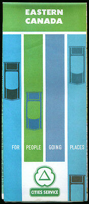 Cities Service Gasoline Road Map Eastern Canada 1963