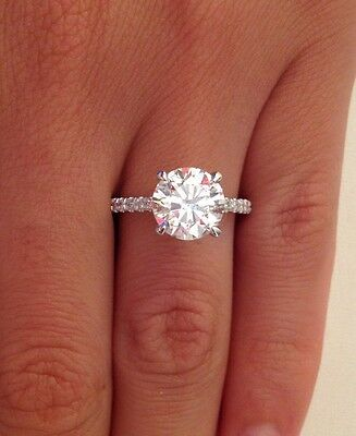 2.50 Ct Round F/vs1 Diamond Solitaire Engagement Ring Enhanced 14K White Gold