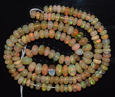 "14.5"" Stunning Natural Ethiopian Welo Fire Opal Smooth Rondelle Beads EB1859"