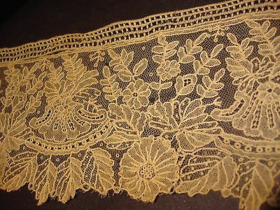"Antique Lace Trim Handmade Rose Point de Gaze Duchesse Lace 3 3/4"" by 17"" Cream"