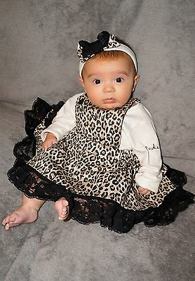 Flukes designer leopard frilly baby girls unique bow band bib dress heart outfit