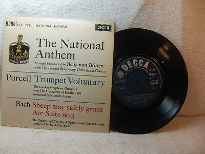 National Anthem – arr + conducted by Benjamin Britten 1962 EP Decca CEP 736