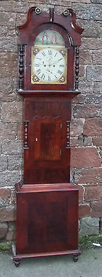 ANTIQUE Grandfather LONGCASE CLOCK Painted DIAL In MAHOGANY Case BLAKEBOROUGH