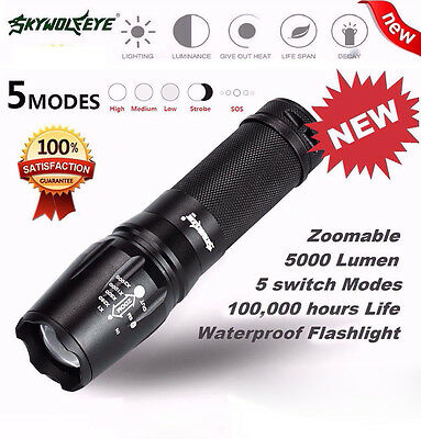 5000 Lumen 5 Modes T6 Zoomable LED Flashlight Torch 18650 Lamp Light G700 X800