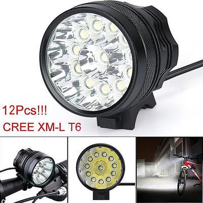 30000Lm 12x CREE T6 LED Headlight 3 Modes Bicycle Lamp Bike Light Cycling Torch