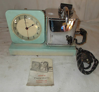 Vintage PIFCO Teasmade TEA O MATIC Alarm Clock BEDROOM Retro 1950s BLUE