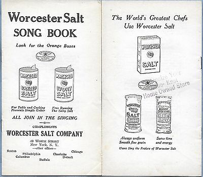 VINTAGE ADVERTISING WORCESTER SALT COMPANY SONG BOOK 16 pages