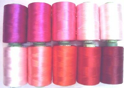 10 Rosy Hand Machine Embroidery Thread GIFT SISTER MOTHER 984Y RP3 Shades #OF27O