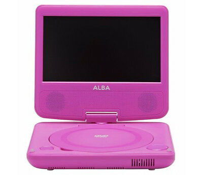 Alba 7 Inch Portable Personal DVD Player with Tilt and Swivel - Remote  - Pink o