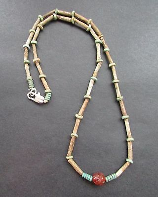 NILE  Ancient Egyptian Faience Amulet Carnelian Mummyh Bead Necklace ca 600 BC