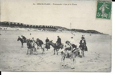 Cpa 62 Berck-Plage Promenade A Anes Et Le Phare Animee Voyagee 1908