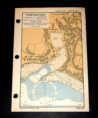 Coastal Defence of PORTHLEVEN, Cornwall - Vintage WW2 Naval Map 1943