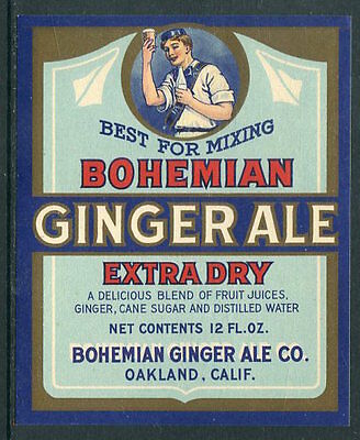 BOHEMIAN GINGER ALE CO. Extra Dry Mint Never Hinged Label 1930's  UPTOWN 12904
