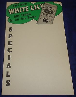 AM120 Vtg J. Allen Smith White Lily Flour Specials Grocery Store Display Ad