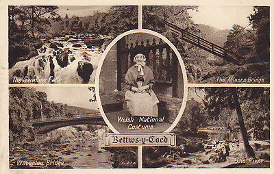 Bettws-Y-Coed - Conway - Wales - 4 View With Inset Welsh Lady - Vintage Postcard