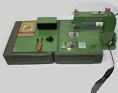 Vintage Swiss Elna Grasshopper #1 Sewing Machine Type 500970 w/ Case Extras Nice