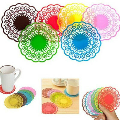 FD870 Silicone Coaster Pad Tea Cup Bowl Lace Tableware Tableware Placemat ~1PC ✿