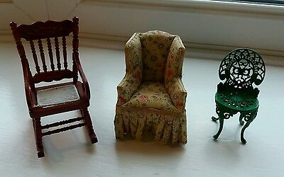 Dolls House Miniature 1/12 Small Job Lot Of Three Assorted Chairs
