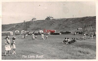 Banffshire Banff The Links Playing Field Children & Swings & Coaches Photo Card