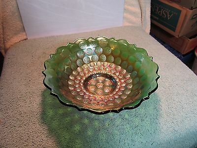 Vintage unmarked Fenton Coin Dot Pattern green carnival glass bowl.