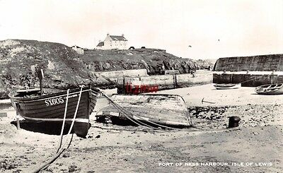 Isle Of Lewis Port Of Ness Harbour Fishing Boats On Beach Photo Card