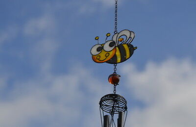 Bumble Bee Stained Glass Hanging Suncatcher Mobile Windchime Garden Home