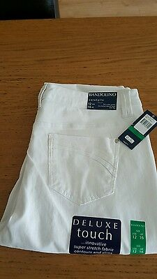 Bandolino Sarabelle Ladies White Stretch Jeans.size Uk 16.new With Tags