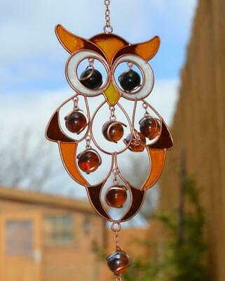 Owl Stained Glass & Hanging Suncatcher Mobile Windchime Garden Home