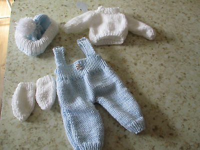 """12""""-14 inch  hand knitted  dolls clothes baby blue  and white  dungarees"""