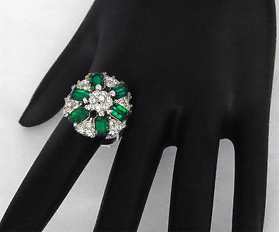Rare Signed Hollycraft Emerald Green & Clear Baguette Rhinestone Cocktail Ring