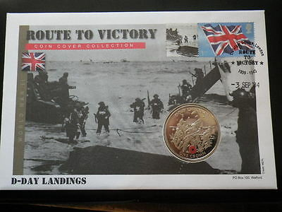 Gibraltar 2004 Crown Coin Cover. D-Day Landings