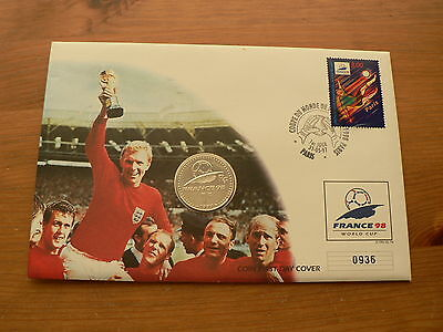 1997 France 1F Franc Coin & Stamp Cover, Bobby Moore, World Cup 1998 Football