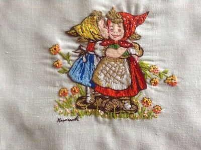 Hummel Figures Crewel Embroidery on Linen, Kissing Sisters, Flowers, Paragon