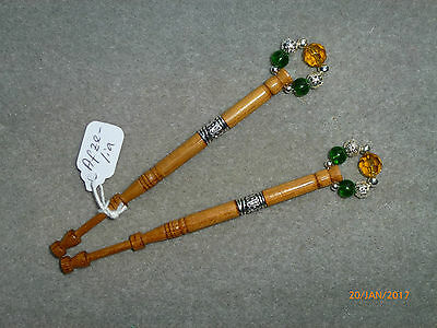 LACEMAKING LACE BOBBINS PAIR AFZELIA WOOD - with bead insert