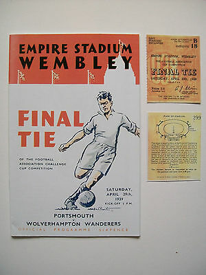 1939 FA Cup final programme,Ticket & free teamsheet Portsmouth v Wolves mint con