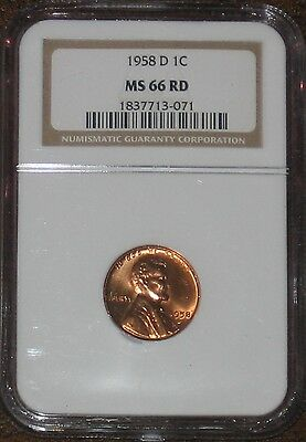 1958 D Wheat Penny Cent NGC Grade MS 66 RD Lincoln RED certified Mint State