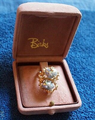 Vintage Birks 14k Yellow Gold Baroque Grey Pearls RING Size 8, 11.5 gm. w/ Case.
