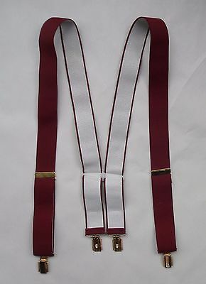 Vintage 60s Mens Button Braces. Maroon with Goldtone Clip Fastenings & Adjustors