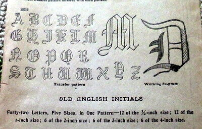 "RARE VTG 1920s OLD ENGLISH INITIALS Transfer Pattern INITIAL ""D"" MOTIFS UNCUT"